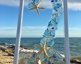 "Serpetine Starfish 11"" x 21"", Sea Glass Art, Beach Glass Art"