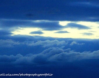 Blue Clouds Screen Saver, Stormy Clouds Photo Digital Download, Sky and Clouds, Outdoors New England Photography, Blue Sky and Clouds Photo