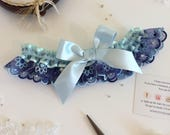 Retro wedding garter 'Something Blue' Dainty Embroidered Indigo Blue and Turquoise Bridal Garter One Size