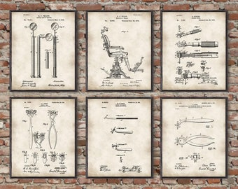 Dentist Patent,Vintage Dental tools,Dentist Prints,medical equipment, medical student ,graduation gift, dental instruments,set of 6 prints