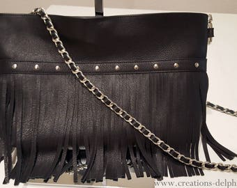 Black leather fringed bag