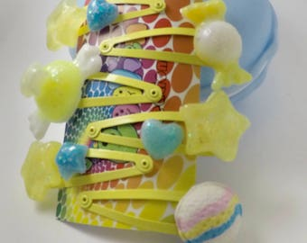 Yellow and baby blue hair clip set