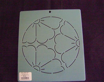 Sashiko Japanese Embroidery/Quilting Stencil 7 in. Oriental Blossom Motif Block/Quilting