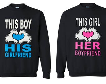 Valentines Day Matching Cute Couple Love His and Hers Crewneck This Boy / Girl Loves  His Girlfriend / Her Boyfriend Crewneck Lovely Gift