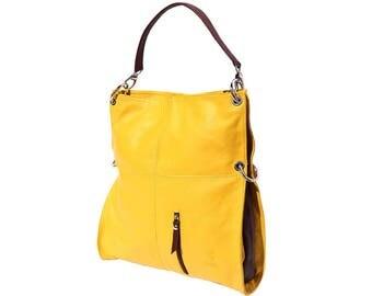 IItalian handmade Soft leather Hobo shoulder bag in Yellow & Brown 3019