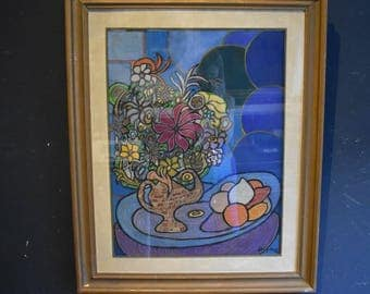 Original Signed Still life in Gouache with flowers