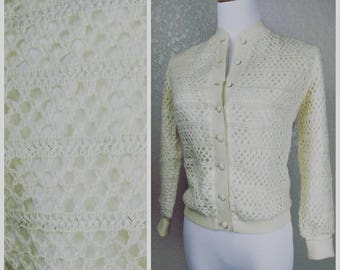 Clearance *** Vintage Cream and Silver threaded Cardigan