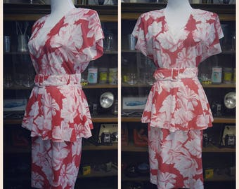 Clearance *** Fantastic 80s does 40s Rayon Belted Peplum Dress
