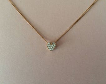 Rose Gold Crystal Heart Bridesmaid Necklace Gift