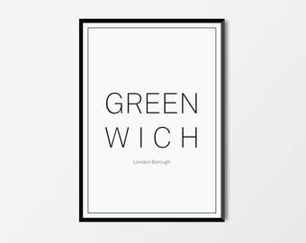 Greenwich, London Borough | London Print | London Artwork | London Illustration | Architecture Print | City Print