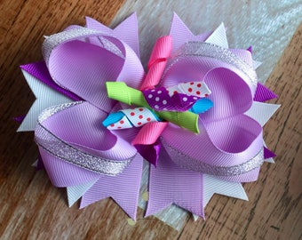 Girls Stacked Corker Bow Layered Boutique Bow Hair Clip