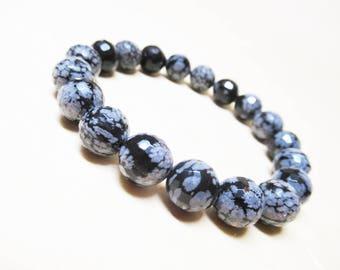 Obsidian Bracelet Snowflake Obsidian Bracelet Faceted Obsidian Gemstone Bracelet Mens Bracelet Root Chakra Bracelet Wrist Mala Bracelet