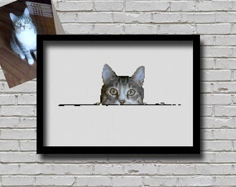 Custom Order Cross Stitch Pattern Peeking Your Pet Cat Creative Decor Personalised Printable Digital Pattern For Crafter Custom Cat Pattern