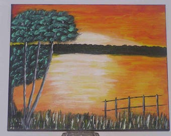 """Acrylic painting """"Sunset over the Lake"""""""