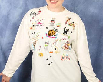 Vintage Swan Magic Embroidered Cat Shirt // Long Sleeve White Shirt // Kitty Cat Meow Purr Yarn Paws