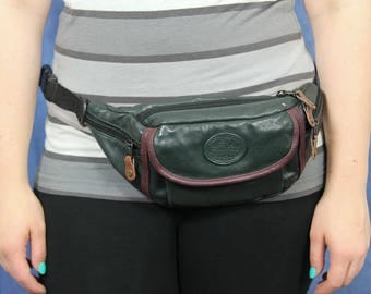 Vintage 80s 90s Green Leather Fanny Pack // Retro Hip Pouch Bum Bag Festival Utility // Cedarwoods