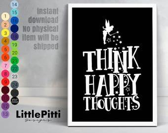 Think happy thoughts, scandinavian kids room, Peter Pan wall decor, disney quote, disney nursery decor, nursery instant download, Peter Pan