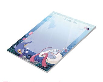 "Notepad ""Summer Time"" with Milotic, Lanturn, Clamperl, Luvdisc, Finneon and Gyarados, A6, 50 sheets"