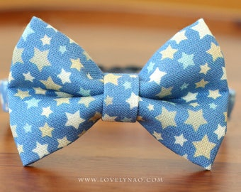 Shining Star Cat Bow Tie Collar  – Blue
