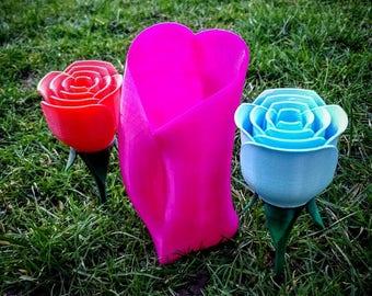 3D Printed Roses & Vase set