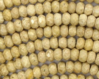 """8mm faceted cream river stone rondelle beads 16"""" strand creamy riverstone 38635"""