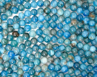 "5mm natural blue apatite round beads 15.5"" strand S3 38587"