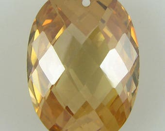 18mm faceted CZ cubic zirconia oval pendant topaz 2454