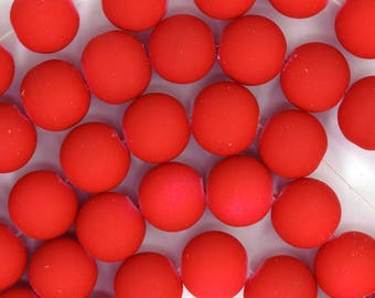 """12mm frost matte glass round beads 15"""" strand red 35994"""