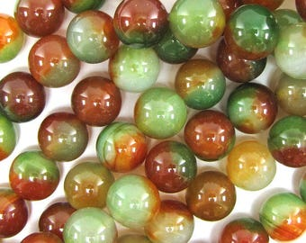 "18mm brown green agate round beads 7.5"" strand 17384"