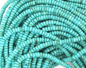 "4.5mm blue turquoise heishi beads 16"" strand 32439"