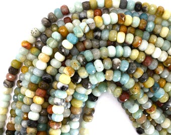 """8mm faceted amazonite rondelle beads 15.5"""" strand 39289"""