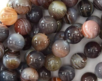 "12mm natural botswana agate round beads 15.5"" strand 39601"