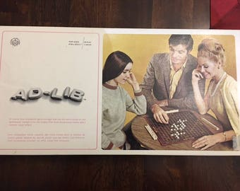 Vintage AD-LIB Board Game 1960's