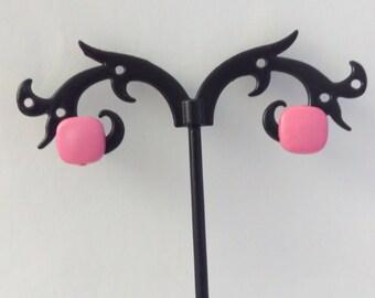 1cm NOS DARK PINK 1980s square earrings, 1980s pink candy earrings, earrings, 1980s earrings, vintage 1980s earrings, pink kitsch earrings