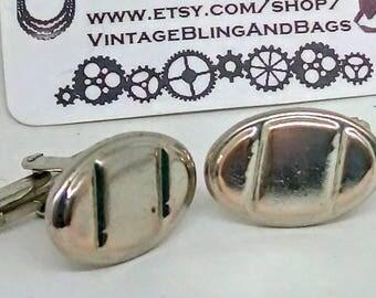 19x13mm Vintage cufflinks, vintage oval cufflinks, oval vintage cufflinks, vintage wedding cufflinks, Silvertone cufflinks, ovoid cufflinks