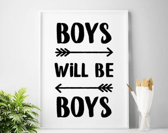 Boys room art, digital print, children wall art, printable quote, boys nursery decor, scandinavian, black and white, baby boy nursery art