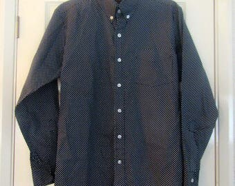 Vintage Mens Black & White Dot Shirt - Made using 60s material - Size Small - Made in England