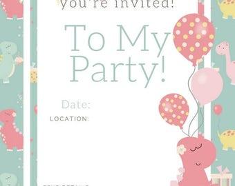 Pink Dino Birthday Invite , birthday party invite