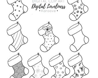Christmas Stockings , Digi Stamp , Commercial Use , Instant Download