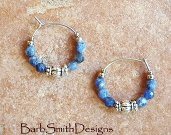 "Beaded Blue Silver Hoop Earrings, Sodalite Beads, Blue Stainless Steel Earrings, Small 3/4"" Diameter in Sodalite"