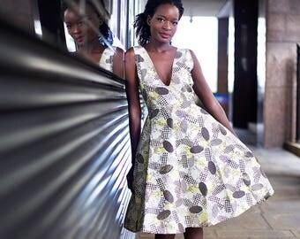 African print dress, Ankara midi dress, African dress, African clothing, Ankara clothing, Ankara dress, Ankara dress, plunging neckline, Ana