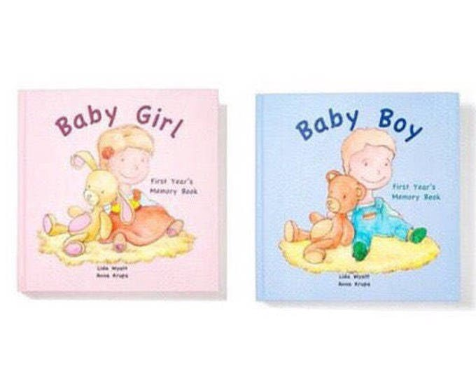Baby Girl & Baby Boy First Year's Memory Books - Choose from 3 Hair/Skin Colour Options