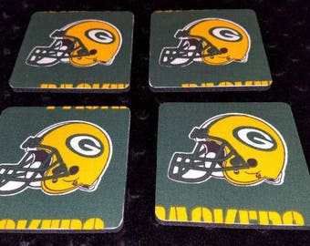 Green Bay Packers 4 Piece Coaster Set