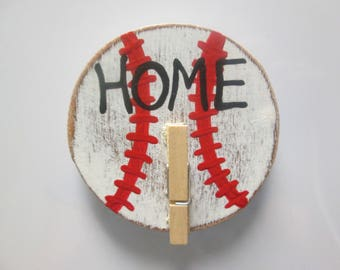 Baseball magnet, hand painted wooden magnet with clip