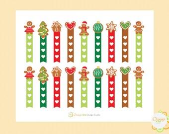 Gingerbread Cookie Flag Checklist Stickers, Planner Stickers, Checkbox Stickers, Gingerbread Men Stickers, Erin Condren Life Planner