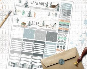 January Monthly printable planner stickers for Erin Condren LifePlannerTM watercolor winter wonderland monthly spread snow sledge trees set