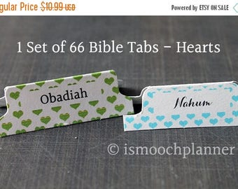 50% OFF SALE 1 Set of 66 Bible Tabs - Hearts | Bible Journal | Scripture Dividers | Bible Tabs | Bible Journaling