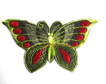 Butterfly applique, 1930s vintage embroidered applique. Vintage patch, sewing supply. Applique, Crazy quilt. #6A6GD0KA