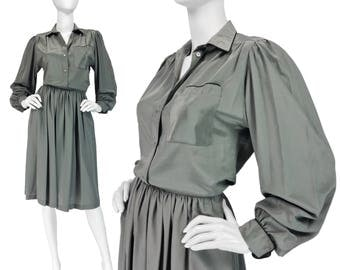 Vintage Clothing, 70s Skirt Set XS S, 70s Outfit, Wear To Work, 70s Blouse, Bishop Sleeves, Midi Skirt, Gray Green Skirt Set,  SIZE XS S 2 4