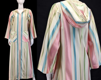 Vintage Clothing, Muumuu Robe XS S M, 60s House Coat, Striped Muumuu, Long Robe, Hooded Muumuu, Maxi HouseCoat, Mumu, Muu Muu, SIZE XS S M